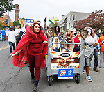 WATERBURY, CT - 08 OCTOBER 2017 -101417JW09.jpg -- The Neoperl Inc. team shows off their Game of Thrones look as they parade down Grand Street before the start of the 2017 United Way Bed Race Fundraiser Saturday morning. Jonathan Wilcox Republican-American