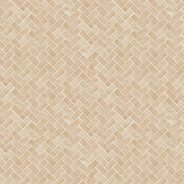 Herringbone 2x4 cm, a hand-cut stone mosaic, shown in polished in Rosa Portagallo.