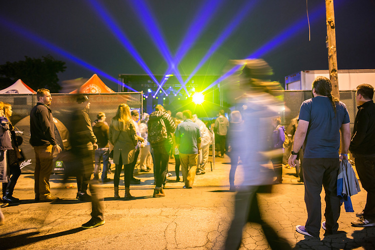Durham, North Carolina - Thursday May 19, 2016 - Floating Points performs on the Motorco stage as crowds gather on the street oustide Thursday night during Moogfest in Durham.