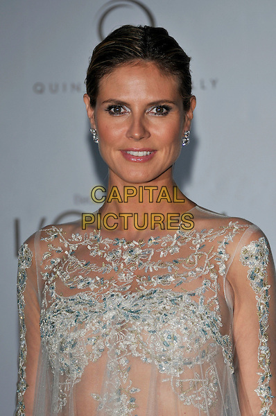 Heidi Klum.AmFAR Cinema Against AIDS 2012, Hotel du Cap, Antibes during the 65th  Cannes Film Festival, France..24th May 2012.headshot portrait sheer see through thru dress white blue lace .CAP/PL.©Phil Loftus/Capital Pictures.