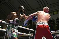 Larry Ekundayo (white shorts) defeats Nathan Hardy during a Boxing Show at York Hall on 15th February 2020