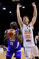 Saints&rsquo; Majok Majok and Hawks' Angus Bandt  in action during the NBL - Wellington Saints v Hawkes Bay Hawks  at TSB Bank Arena, Wellington, New Zealand on Friday 11 May 2018.<br /> Photo by Masanori Udagawa. <br /> www.photowellington.photoshelter.com