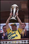 Steve Waugh holds aloft the trophy ..... 1999 Cricket World Cup, Pakistan V Australia at Lords.... Pic Donald MacLeod