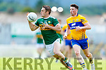 Stephen O'Brien Kerry in action against Keelan Sexton Clare during the Munster GAA Football Senior Championship semi-final match between Kerry and Clare at Fitzgerald Stadium in Killarney on Sunday.