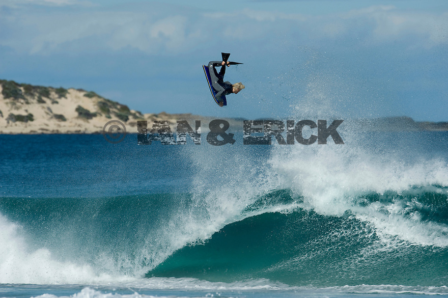 Michael Novy doing an air at Indjinup in Yallingup, Western Australia.