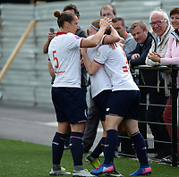 20170514 - LILLE , FRANCE : LOSC's Jana Coryn pictured celebrating with her teammates such as Belgian Maud Coutereels (left) one of her 3 goals during the 21 st competition game between the women teams of Lille OSC and La Roche Sur Yon in the 2016-2017 season of the Second Division A D2F A at stade Lille Metropole , Saturday 14th May 2017 ,  PHOTO Joke Vuylsteke | Sportpix.Be