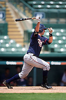 GCL Twins catcher Justin Hazard (56) at bat during a game against the GCL Orioles on August 11, 2016 at the Ed Smith Stadium in Sarasota, Florida.  GCL Twins defeated GCL Orioles 4-3.  (Mike Janes/Four Seam Images)
