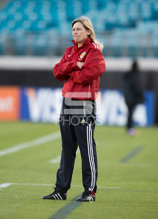Scotland head coach Anna Signeul watches her team during the game at EverBank Field in Jacksonville, Florida.  The USWNT defeated Scotland, 4-1.