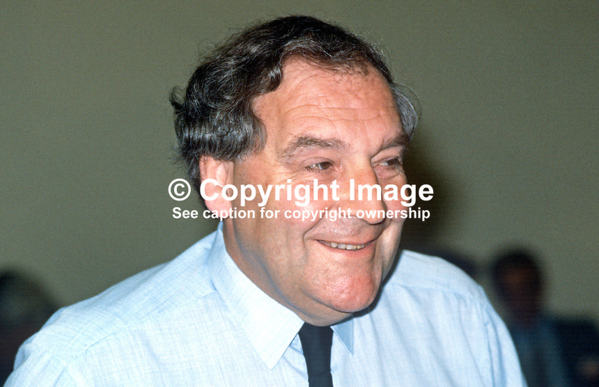 Bryan Stanley, general secretary, Post Office Engineering Union, trade union, UK, at Trades Union Congress annual conference 1984. 19840107BS1.<br />