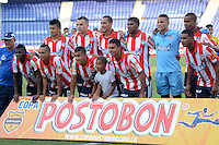 BARRANQUIILLA -COLOMBIA-07-04-2013. Jugadores de Atlético Junior posan para los fotoógrafos previo al partido con Unión Magdalena por la fecha 6 de la Copa Postobon 2014 jugado en el estadio Metropolitano Roberto Meléndez de la ciudad de Barranquilla./ Atletico Junior players pose to the photographers prior the match against Union Magdalena for the date 6 of the Postobon Cup 2014 played at Metropolitano Roberto Melendez stadium in Barranquilla city.  Photo: VizzorImage/Alfonso Cervantes/STR