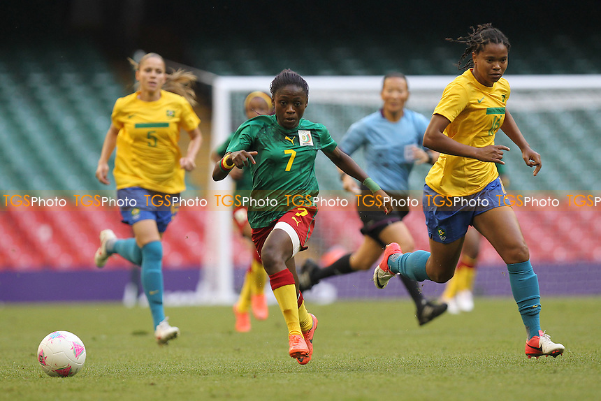 Gabrielle ONGUENE of Cameroon on the attack - Brazil Women vs Cameroon Women - Womens Olympic Football Tournament London 2012 Group E at the Millenium Stadium, Cardiff, Wales - 25/07/12 - MANDATORY CREDIT: Gavin Ellis/SHEKICKS/TGSPHOTO - Self billing applies where appropriate - 0845 094 6026 - contact@tgsphoto.co.uk - NO UNPAID USE.