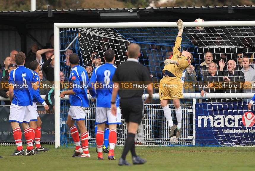 Liam Hope's header just dips over the bar - Enfield Town vs Leiston - Ryman League Division One North Football at the Queen Elizabeth II Stadium - 21/04/12 - MANDATORY CREDIT: Simon Roe/TGSPHOTO - Self billing applies where appropriate - 0845 094 6026 - contact@tgsphoto.co.uk - NO UNPAID USE.