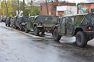 October 30, 2012  (Washington, DC)  D.C. National Guard Humvees escorted D.C. Mayor Vincent Gray as he toured Hurricane Sandy storm damage.  (Photo by Don Baxter/Media Images International)