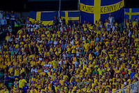Supoorters of team Sweden cheer during the UEFA EURO 2012 Group E qualifier Hungary playing against Sweden in Budapest, Hungary on September 02, 2011. ATTILA VOLGYI