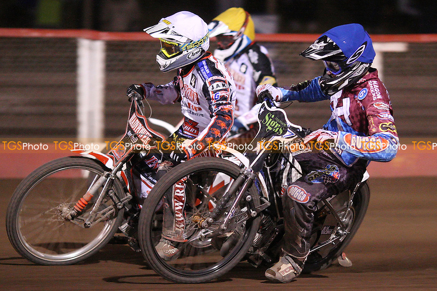 Heat 14: Richie Worrall (blue), Michael Jepsen Jenson (white) and Richard Lawson (yellow) - Lakeside Hammers vs Peterborough Panthers, Elite League Speedway at the Arena Essex Raceway, Pufleet - 11/05/12 - MANDATORY CREDIT: Rob Newell/TGSPHOTO - Self billing applies where appropriate - 0845 094 6026 - contact@tgsphoto.co.uk - NO UNPAID USE..