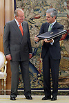 King Juan Carlos I of Spain attends in audience to Adolfo Suarez Illana, son of former Prime Minister Adolfo Suarez Gonzalez, for the return of the necklace of the Order of the Golden Fleece. June 12 ,2014. (ALTERPHOTOS/Acero)