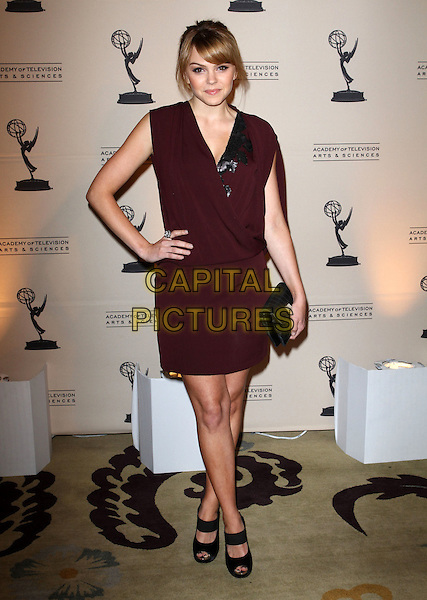 "AIMEE TEEGARDEN .The 4th Annual Television Academy Honors ""Television With A Concious"" Event Held At The Beverly Hills Hotel, Beverly Hills, California, USA, .5th May 2011..full length dress hand on hip clutch bag  peep toe shoes  black .CAP/ADM/KB.©Kevan Brooks/AdMedia/Capital Pictures."