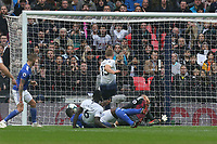 Eric Dier of Tottenham Hotspur scores the first goal during Tottenham Hotspur vs Cardiff City, Premier League Football at Wembley Stadium on 6th October 2018