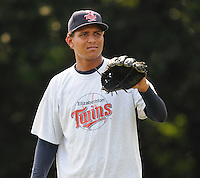 July 15, 2009: RHP Ramon Acosta (33) of the Elizabethton Twins, rookie Appalachian League affiliate of the Minnesota Twins, before a game at Dan Daniel Memorial Park in Danville, Va. Photo by:  Tom Priddy/Four Seam Images