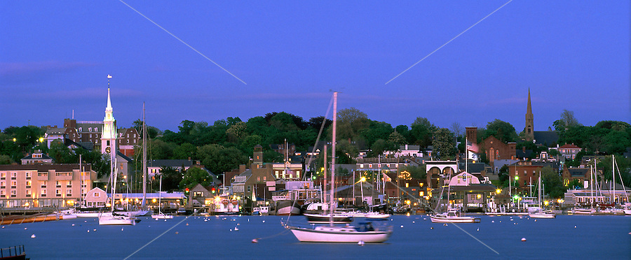 USA, Newport, RI - Nighttime view of Newport's waterfront taken from Goat Island..