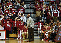 NWA Democrat-Gazette/CHARLIE KAIJO Arkansas Razorbacks head coach Mike Anderson reacts during the first half of the NCAA National Invitation Tournament, Saturday, March 23, 2019 at the Simon Skjodt Assembly Hall at the University of Indiana in Bloomington, Ind. The Arkansas Razorbacks fell to the Indiana Hoosiers 63-60.
