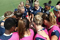 Cary, North Carolina  - Sunday May 21, 2017: NC Courage players huddle prior to a regular season National Women's Soccer League (NWSL) match between the North Carolina Courage and the Chicago Red Stars at Sahlen's Stadium at WakeMed Soccer Park. Chicago won the game 3-1.