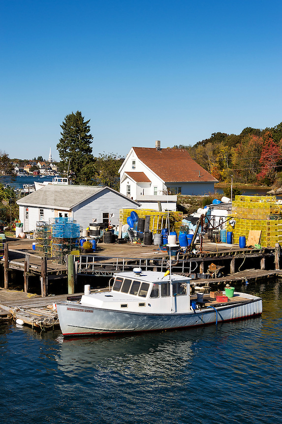 Lobster boat and dock, New Castle, New Hampshire, USA