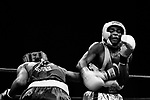 Edwardo Vidal (left), 22, is punching Denis Douglin (right), 16, from Gleason's Gym, during the 2005 Daily News Golden Gloves 152-pound novice final at the Theatre of Madison Square Garden on April 7th.