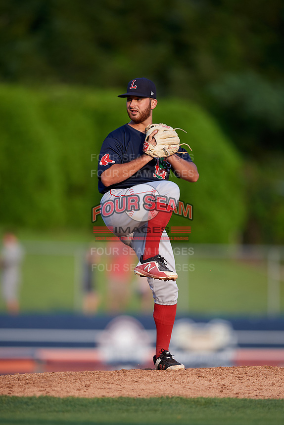 Lowell Spinners relief pitcher Tanner Raiburn (32) delivers a pitch during a game against the Connecticut Tigers on August 26, 2018 at Dodd Stadium in Norwich, Connecticut.  Connecticut defeated Lowell 11-3.  (Mike Janes/Four Seam Images)