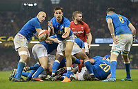 Italy&rsquo;s Mattia Bellini whips the ball out <br /> <br /> Photographer Ian Cook/CameraSport<br /> <br /> 2018 NatWest Six Nations Championship - Wales v Italy - Sunday 11th March 2018 - Principality Stadium - Cardiff<br /> <br /> World Copyright &copy; 2018 CameraSport. All rights reserved. 43 Linden Ave. Countesthorpe. Leicester. England. LE8 5PG - Tel: +44 (0) 116 277 4147 - admin@camerasport.com - www.camerasport.com