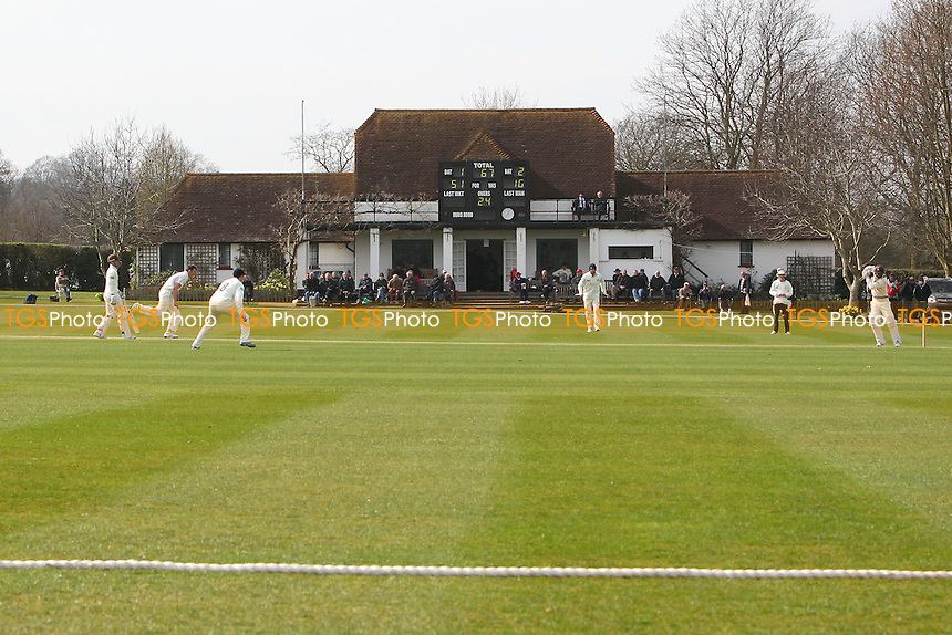 General view of play looking towards the pavilion on Day One - Middlesex CCC vs Surrey CCC - Pre-Season Friendly Cricket Match at Merchant Taylors School, Sandy Lodge, Northwood - 20/03/14 - MANDATORY CREDIT: Gavin Ellis/TGSPHOTO - Self billing applies where appropriate - 0845 094 6026 - contact@tgsphoto.co.uk - NO UNPAID USE