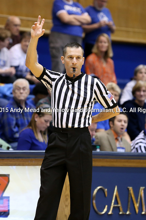 03 December 2015: Referee Joseph Vaszily. The Duke University Blue Devils hosted the University of Minnesota Golden Gophers at Cameron Indoor Stadium in Durham, North Carolina in a 2015-16 NCAA Division I Women's Basketball game. Duke won the game 84-64.