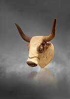 Minoan  bull's head rhython libation vessel, Machlos 1500-1450 BC; Heraklion Archaeological  Museum, grey background.
