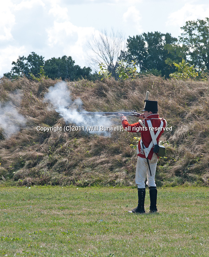 Firing a musket, Fort George, Niagara-on-the-Lake