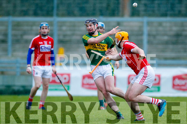 Bryan Murphy Kerry  in action against Declan Dalton Cork in the Co-op Superstores Munster Senior Hurling League on Sunday 14th January in Austin Stack Park, Tralee.
