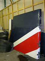 BNPS.co.uk (01202 558833)<br /> Pic: Humbert&EllisAuctioneers/BNPS<br /> <br /> Very rare rudder... only 20 Concorde jets were made before the aircraft was taken out of service in 2003.<br /> <br /> A  rare set of rudders that flew supersonic on a Concorde jet have emerged for sale at auction for a whopping £6,000.<br /> <br /> The pieces are painted in British Airways blue, red and white and are set to excite aeroplane buffs desperate to get their hands on a chunk of history.<br /> <br /> The upper rudder measures 4.1ft by 10.7ft by 4.4ft and has a BA Engineering cut out which was made to inspect for corrosion.<br /> <br /> Also included in the same sale are a pair of Concorde seats dating back to 1995.<br /> <br /> After being removed from the aircraft by BA they went on to be displayed on pre-production Concorde 101 G-AXDN plane.<br /> <br /> They are now mounted on wooden base for display purposes and come complete with original electrical connections.