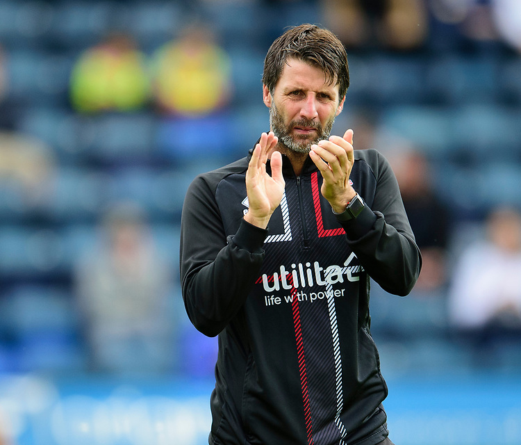 Lincoln City manager Danny Cowley applauds the Lincoln City fans during the pre-match warm-up<br /> <br /> Photographer Andrew Vaughan/CameraSport<br /> <br /> The EFL Sky Bet League One - Wycombe Wanderers v Lincoln City - Saturday 7th September 2019 - Adams Park - Wycombe<br /> <br /> World Copyright © 2019 CameraSport. All rights reserved. 43 Linden Ave. Countesthorpe. Leicester. England. LE8 5PG - Tel: +44 (0) 116 277 4147 - admin@camerasport.com - www.camerasport.com