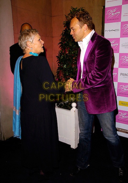 "DAME JUDI DENCH & GRAHAM NORTON.At the World Premiere of ""Dirty Dancing: The Classic Story On Stage"" Aldwych Theatre, London, England, .October 24th 2006..porofile full length turquoise scarf choker neckace meeting greeting.Ref: CAN.www.capitalpictures.com.sales@capitalpictures.com.©Can Nguyen/Capital Pictures"