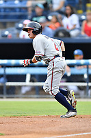 Rome Braves shortstop Marcus Mooney (2) runs to first base during a game against the Asheville Tourists at McCormick Field on July 27, 2017 in Asheville, North Carolina. The Braves defeated the Tourists 6-3. (Tony Farlow/Four Seam Images)