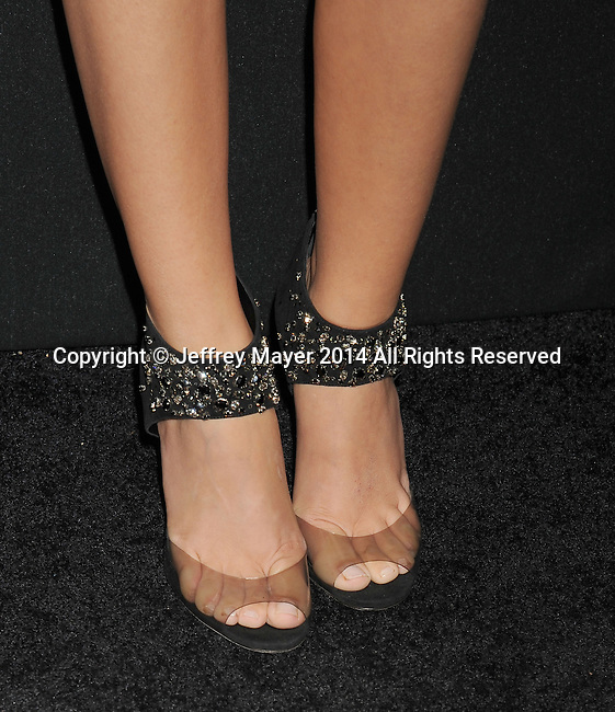 LOS ANGELES, CA- AUGUST 21: Actress Sarah Hyland (shoe detail) at the Audi Emmy Week Celebration at Cecconi's Restaurant on August 21, 2014 in Los Angeles, California.
