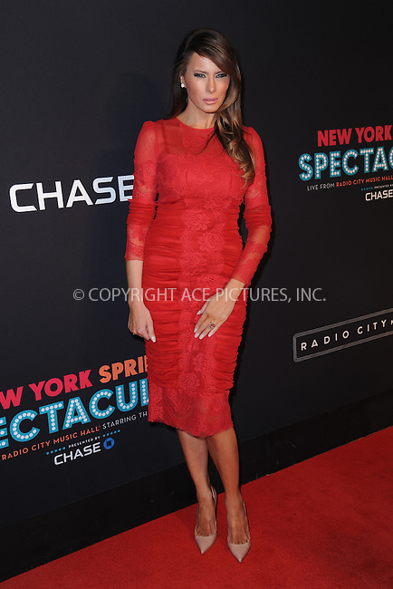 WWW.ACEPIXS.COM<br /> March 26, 2015 New York City<br /> <br /> Melania Trump attending the 2015 New York Spring Spectacular at Radio City Music Hall on March 26, 2015 in New York City.<br /> <br /> Please byline: Kristin Callahan/AcePictures<br /> <br /> ACEPIXS.COM<br /> <br /> Tel: (646) 769 0430<br /> e-mail: info@acepixs.com<br /> web: http://www.acepixs.com