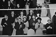 20 Jan 1969, Washington, DC, USA. President Richard Nixon stands with his family during his presidential inauguration celebrations in Washington, DC. Behind the President are (L-R): son-in-law David Eisenhower, daughter Julie Nixon Eisenhower, daughter Patricia Nixon Cox, and son-in-law Edward C. Cox. First Lady Pat Nixon stands to the President's left.