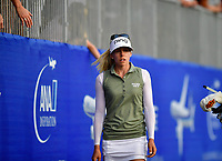 Pernilla Lindberg of Sweden walking down the Champions Walk on her way to the 18th green during the final round of the ANA Inspiration at the Mission Hills Country Club in Palm Desert, California, USA. 4/1/18.<br /> <br /> Picture: Golffile | Bruce Sherwood<br /> <br /> <br /> All photo usage must carry mandatory copyright credit (&copy; Golffile | Bruce Sherwood)