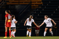 Portland Thorns midfielder Tobin Heath (17) celebrates scoring during the first half against the Western New York Flash during the National Women's Soccer League (NWSL) finals at Sahlen's Stadium in Rochester, NY, on August 31, 2013.
