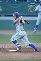 Dempsey Grover (20) of the UC Santa Barbara Gauchos bats against the Cal State Long Beach Dirtbags at Blair Field on April 1, 2016 in Long Beach, California. UC Santa Barbara defeated Cal State Long Beach, 4-3. (Larry Goren/Four Seam Images)
