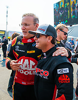 Jul 29, 2018; Sonoma, CA, USA; NHRA top fuel driver Doug Kalitta (left) and Steve Torrence during the Sonoma Nationals at Sonoma Raceway. Mandatory Credit: Mark J. Rebilas-USA TODAY Sports