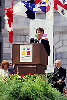 Montreal (QC)CANADA - May 1992 File Photo<br /> Quebec Premier and <br /> Liberal Provincial Leader Robert Bourassa<br />  speak during the 350th anniversary of Montreal fondation anniversary.