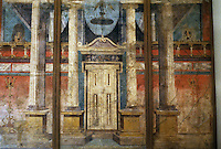 Italy: Pompeii--National Museum. Doorway, Pompeian Villa Fresco in 2nd Pompeian style, c. 50 B.C.