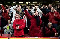 Sheffield United fans celebrates their side's second goal <br /> <br /> Photographer Alex Dodd/CameraSport<br /> <br /> The Premier League - Sheffield United v Manchester United - Sunday 24th November 2019 - Bramall Lane - Sheffield<br /> <br /> World Copyright © 2019 CameraSport. All rights reserved. 43 Linden Ave. Countesthorpe. Leicester. England. LE8 5PG - Tel: +44 (0) 116 277 4147 - admin@camerasport.com - www.camerasport.com