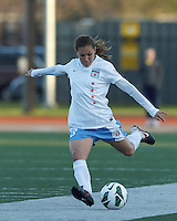 Chicago Red Stars defender Lydia Vandenbergh (13) passes the ball.  In a National Women's Soccer League Elite (NWSL) match, the Boston Breakers (blue) defeated Chicago Red Stars (white), 4-1, at Dilboy Stadium on May 4, 2013.